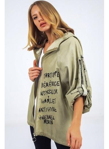Emjey Yazı Baskılı Sırtı Resimli Ceket Haki